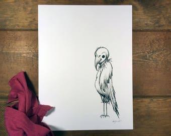 Songbird - Pen and Ink Bird Illustration 9x12 Original Art