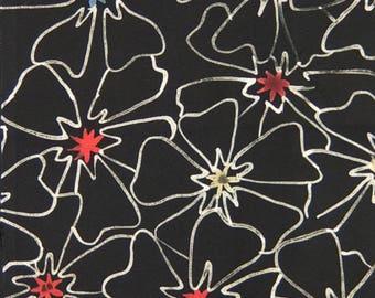 "9.8""w. x 25.6""l. Vintage kimono silk fabric-flower 2927H"