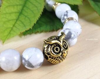 White Howlite Gemstone Bracelet w/ Gold Plated Beads ~ Owl Beaded Mineral Bracelet