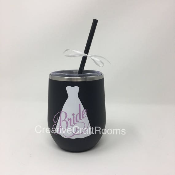 Bride Stainless Steel Stemless Wine Tumbler, Groom Stemless Tumbler, Wedding Party Tumblers, Tumblers, Stainless Steel tumbler with Straw