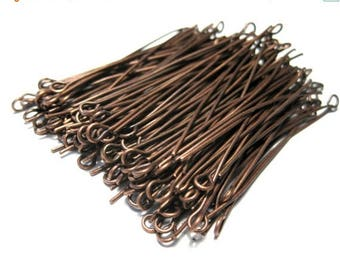 50% OFF Clearance Sale-- Antique Copper  Eye pins 2inches 21ga (No.593)