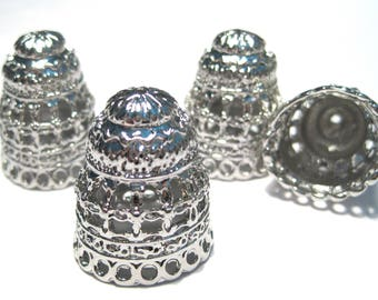 2pcs Antique Silver Extra Large Tassel Caps Cone Caps Bead Caps