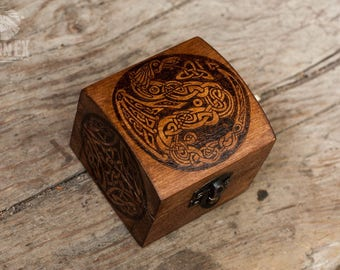 nordic design, celtic dragon, celtic knot, jewelry box, custom box, keepsake box, box for rings, tiny box, little box, celtic design.