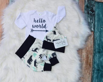 Hello World coming home outfit boy, newborn outfit, boy coming home outfit, newborn boy coming home outfit, newborn boy photo outfit,