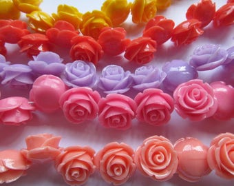50pc  Assorted Dainty Resin Rose Cabochons White Ivory Yellow Pale Pink Coral Fuchsia Turquoise Aqua Blue Teal Purple Green 6-20mm