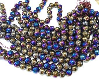 "8\10\12\14\16mm Mystic Coated Agate Beads / AB Coated  Round Druzy Agate  Gemstone Beads Full strand 16"""