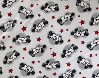 Fabric - Jersey fabric - Mickey mouse print knit - Light grey - Cotton/elastane