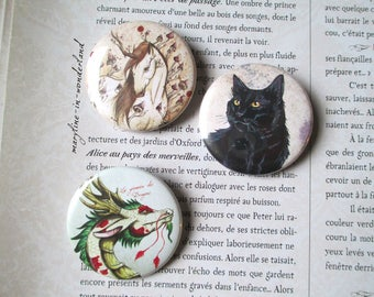 set of 3 badges pins black Unicorn, dragon