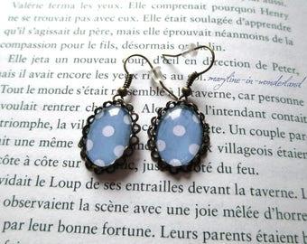 Light blue polka dots cabochon earrings