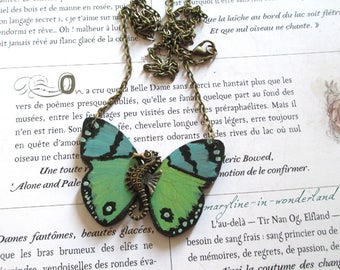 Green Butterfly bronze seahorse necklace