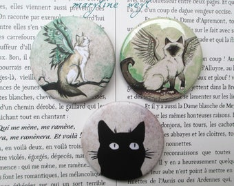 set of 3 badges cat pins brooches