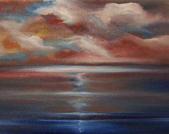 Sea Painting Print, Acrylic on Canvas Painting, Seascape Print, Sunset painting Print, Modern Painting, Contemporary Art