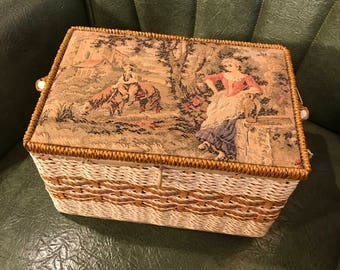Romantic victorian tapestry Singer sewing box vintage sewing basket & Victorian sewing box | Etsy Aboutintivar.Com