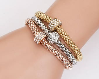 Vintage Stretchy Tennis Bracelet rhinestones - 3 colors to choose from gold silver copper