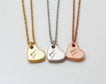 408.Cute, Heart  Monogram charm Necklace, Name Necklace, Personalized Jewelry, Custom necklace