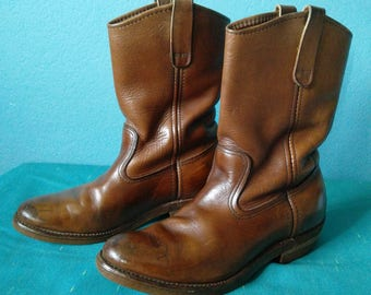 Red Wing Pecos boots mens brown leather western cowboy style # 890 size 7B Made in USA.