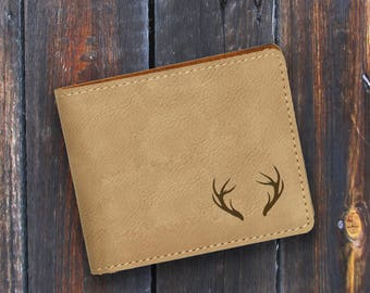 Engraved Bifold Wallet-Personalized Hunting-Mini Size Art Work-Light Brown Wallet-Antlers 1