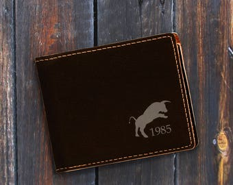 Engraved Bifold Wallet-Personalized Hunting-Mini Size Art Work-Black Wallet-Engraves Silver-Personalized Bull