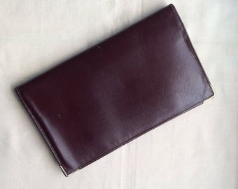 Vintage brown leather  bi-fold wallet. 1970s leather wallet, leather wallet.