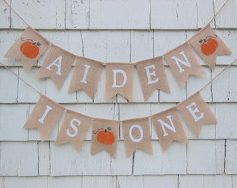 Pumpkin 1st Birthday, Pumpkin First Birthday Banner, Pumpkin Birthday Decorations, Custom Birthday Banner, Happy Birthday Burlap Banner