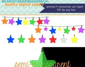 80% OFF SALE Star String Lights Clipart, Multi Color Lights, globe lights, 300 dpi PNG file, Christmas Clipart, holiday clipart, transparent