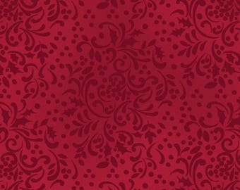 Thankful 20% Off Home for the Holidays - Scroll Cranberry by Clothworks (1746-83) Fabric Yardage