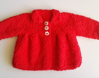 Jacket coat baby birth in 24 months hand-knitted woolen red