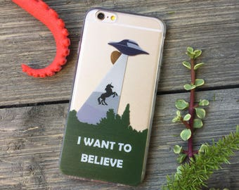 I Want to Believe iPhone Case, Your choice of Soft Plastic (TPU) or Wood