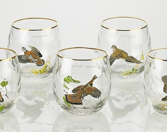 Double Old Fashioned Glass With Waterfowl Art Gold Rim