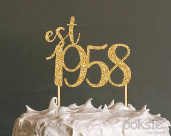 60th Birthday Cake Topper - est 1958 Sixtieth Birthday Cake Topper / Table Centrepiece made from glitter cardstock