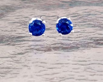 Sapphire solitaire stud earrings, September birthstone earrings, blue stud earrings, sapphire sterling silver earrings, small sapphire