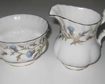 ROYAL ALBERT BRIGADOON Bone China Creamer and Sugar Bowl.  Made in England