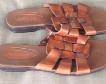 Vintage Laura Scott women's british tan brown slide sandals size 7