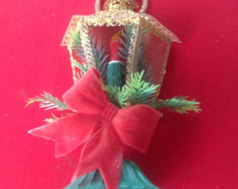 Vintage green Christmas Window candle electric lamp post