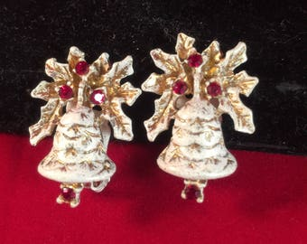 Vintage signed Dodds white enamel painted gold tone Christmas Bells clip on earrings