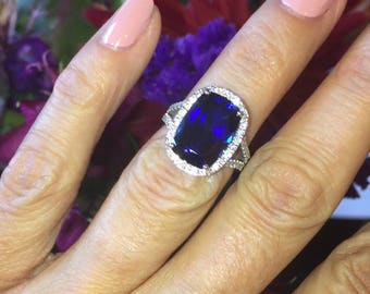 Sapphire Engagement Ring 8.0ct Long Cushion Cut Sapphire & Charles Colvard .86ct Moissanites Halo ring 14k Gold Pristine Custom Rings