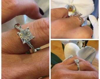 Forever One Princess Cut Moissanite Ring 1.50ct Twist Shank Vintage Engagement Ring .27ct Natural Diamonds Wedding Pristine Custom Rings