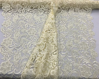 Ivory flower guipure lace embroider-prom-nightgown-decorations-Sold by the yard.36x45inches