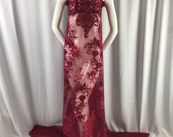 Burgundy flowers embroider on a 2 way stretch mesh lace. Wedding/Bridal/Prom/Nightgown fabric-apparel-fashion-dresses-Sold by the yard.