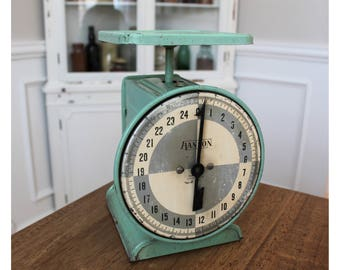Vintage Hanson Kitchen Scale 25 lb Green Mint Made in Chicago, Illinois USA