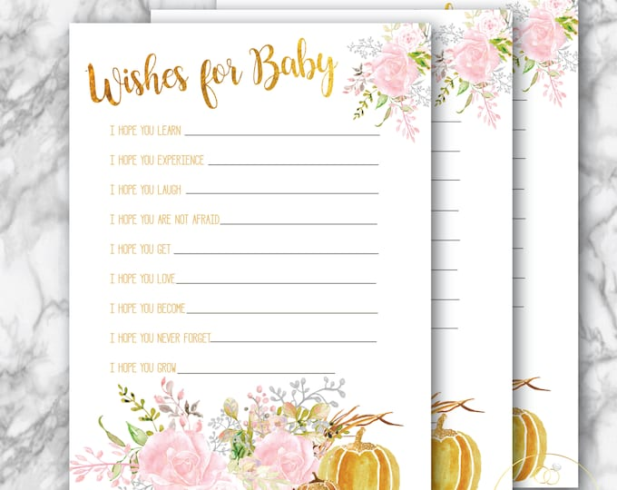 Fall Wishes for Baby // Pink // Autumn Baby Shower // Pumpkin // Advice card for baby // Gold // Printed // CARMEL COLLECTION