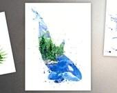 Kasatka / Orca Killer Whale Art Refrigerator Magnet - Ocean & Forest Spirit Animal - Coastal Watercolor Painting