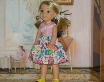 Handmade Multicolor Owls Dress to fit 14.5 inches Dolls such as wellie wishers doll clothes AG