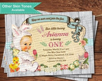 Bunny first birthday invitation. Vintage Easter girl 1st birthday invitation. Little bunny is turning one birthday digital invite EKB02