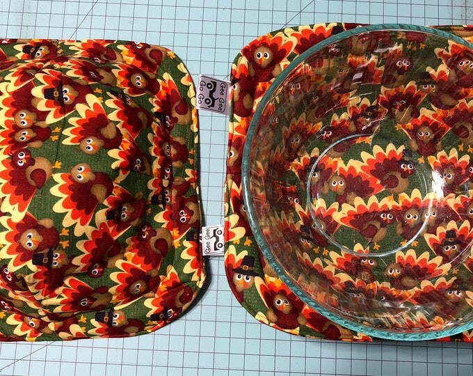 Featured listing image: Thanksgiving turkeys / Microwave bowl cozies SET OF TWO
