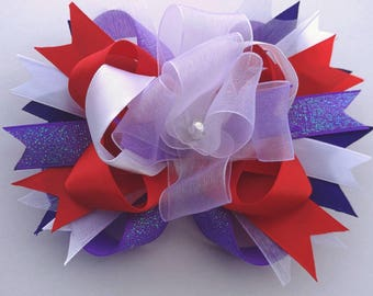 """OTT stacked boutique hairbow 5.5"""" X 4"""", handmade bow, XL bow, cheer bow, purple, red, white, summer ponytail, OOAK ready to ship, soccer bow"""
