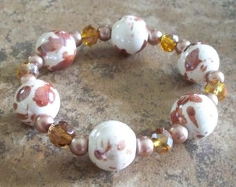 Ceramic Bead and Pearl Bracelet Item No.209