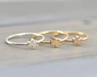 Gold puzzle ring, Tiny Puzzle ring, Dainty cute ring,  Autism Awareness, Narrow Puzzle ring, Puzzle piece jewelry, Puzzle piece ring