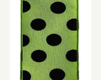 "SALE 2.5""x10yd polka dot wired ribbon, green wired ribbon, black wired ribbon, green and black Halloween wired ribbon, polka dot ribbon, rib"