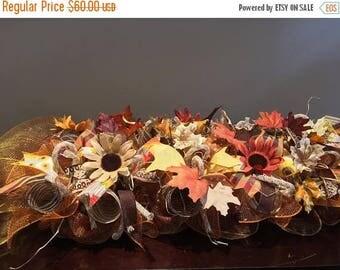 """SALE 36"""" fall centerpiece, fall Garland deco mesh arrangement, fall arrangement, thanksgiving harvest deco mesh centerpiece, autumn centerpi"""